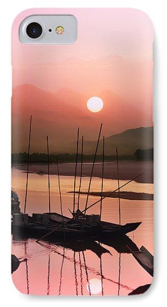 sunset at Mae Khong river Phone Case by Setsiri Silapasuwanchai