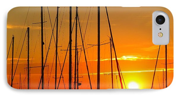 Sunset In A Harbour Digital Photo Painting IPhone Case
