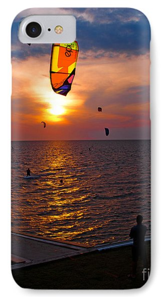 Sunset Kiteboarding On The Pamlico Sound Phone Case by Anne Kitzman