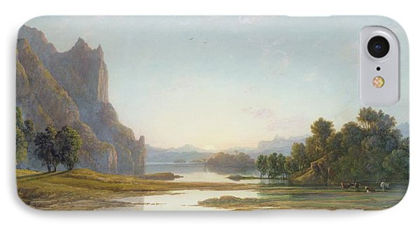 Sunset Over A River Landscape Phone Case by Francis Danby