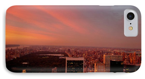 City Sunset iPhone 7 Case - Sunset Over Central Park And The New York City Skyline by Vivienne Gucwa