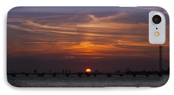 Sunset Over Higgs Pier IPhone Case by Scott Meyer