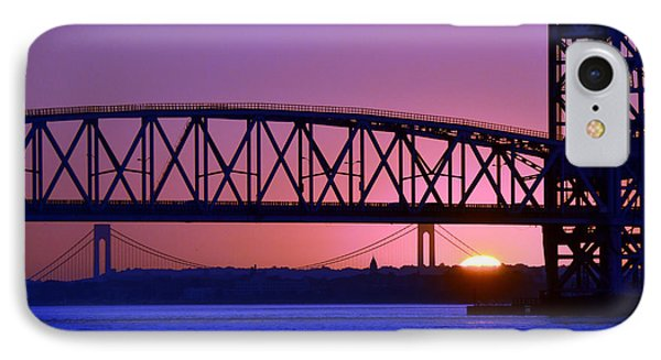 IPhone Case featuring the photograph Sunset Verrazano Under Marine Park Bridge by Maureen E Ritter