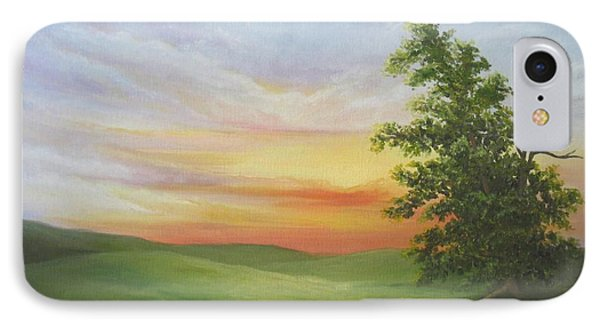 Sunset With A Tree Phone Case by Mary Rogers