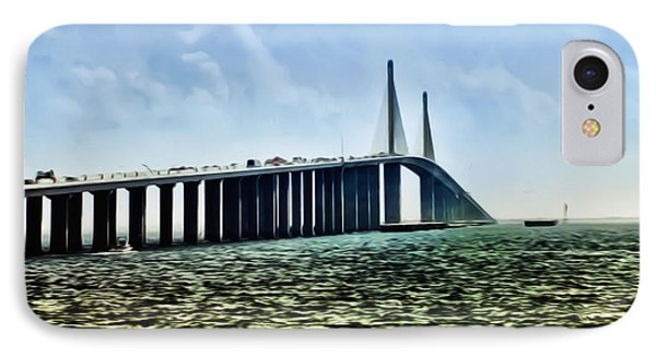 Sunshine Skyway Bridge - Tampa Bay IPhone Case by Bill Cannon