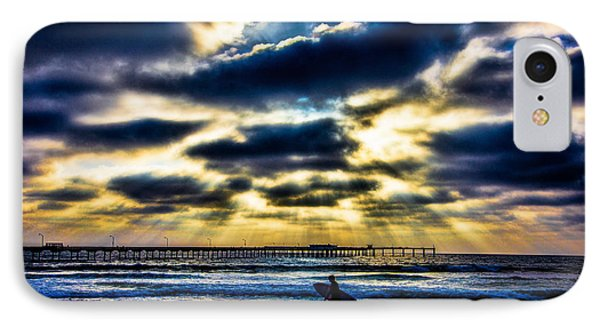 Surfer At Pacific Beach Phone Case by Chris Lord