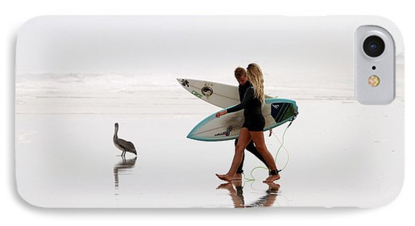 IPhone Case featuring the photograph Surfers And A Pelican by Alice Gipson