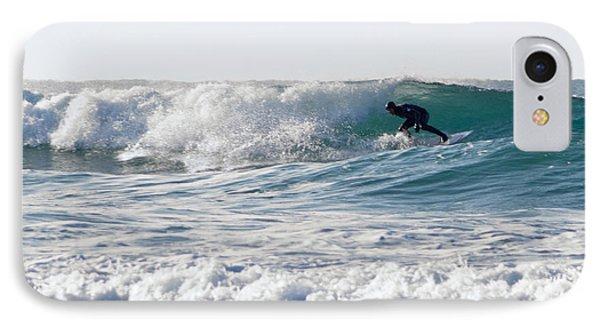 Surfers At Porthtowan Cornwall Phone Case by Brian Roscorla