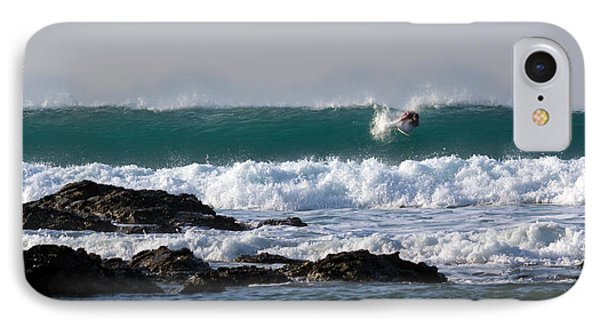 Surfing In Cornwall Phone Case by Brian Roscorla