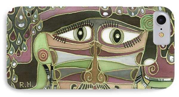 Surprize Drops Surrealistic Green Brown Face With  Liquid Drops Large Eyes Mustache  IPhone Case by Rachel Hershkovitz