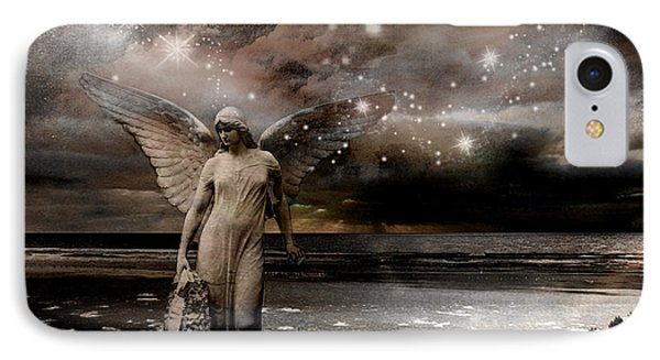 Surreal Fantasy Celestial Angel With Stars Phone Case by Kathy Fornal