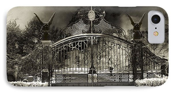Surreal Gothic Gate And Gargoyles Stormy Haunted Sepia Nightscape IPhone Case by Kathy Fornal