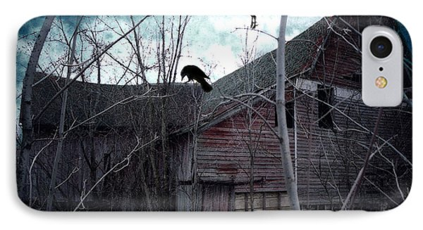 Surreal Gothic Old Barn With Ravens Crows  IPhone Case
