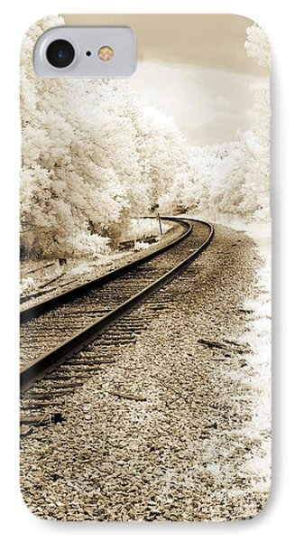 Surreal Infrared Landscape Railroad Tracks - Infrared Railroad Tracks Nature Prints Home Decor IPhone Case by Kathy Fornal