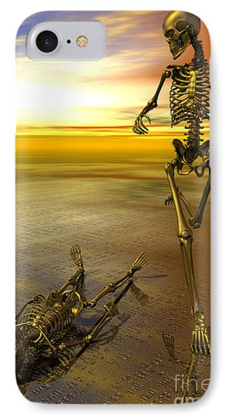 Surreal Skeleton Jogging Past Prone Skeleton With Sunset Phone Case by Nicholas Burningham