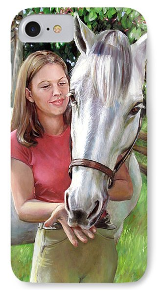 IPhone Case featuring the painting Suzanne With A White Horse by Nancy Tilles