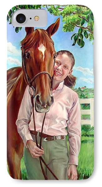 IPhone Case featuring the painting Suzanne With Her Horse by Nancy Tilles