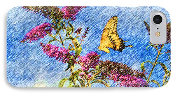 Swallowtail And Butterfly Bush Phone Case by Heidi Smith