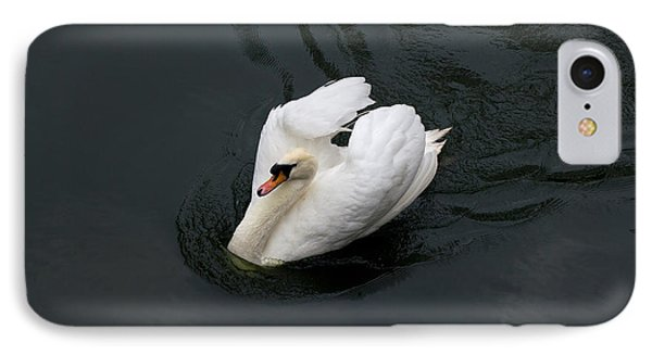 IPhone Case featuring the photograph Swan On Black Water by Les Palenik