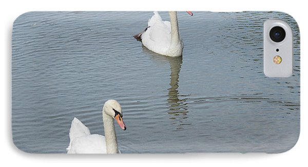Swans Drifting Along Phone Case by Corinne Elizabeth Cowherd