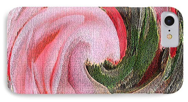 IPhone Case featuring the painting Swirling Pink Parrot Feather by Richard James Digance