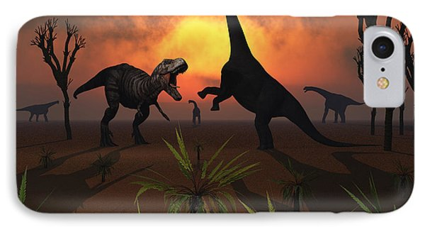 T. Rex Confronts A Group Phone Case by Mark Stevenson