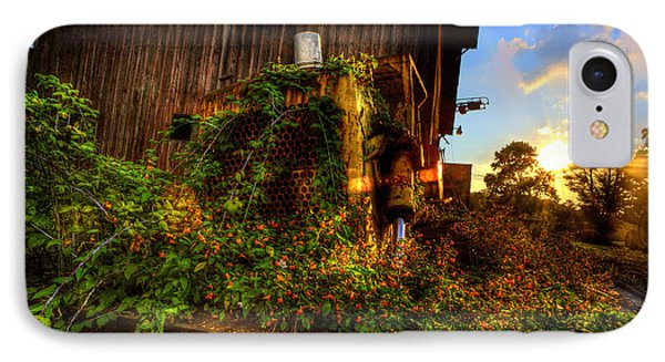 Tactor Overgrown With Flowers And Weeds At Sunset Phone Case by Dan Friend