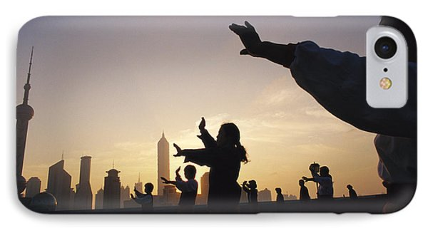 Tai Chi On The Bund In The Morning Phone Case by Justin Guariglia