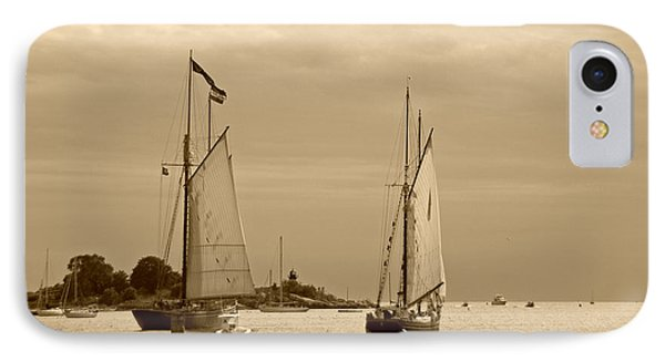 Tall Ships Sailing In Sepia Phone Case by Suzanne Gaff