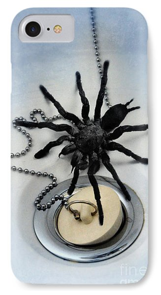 Tarantula In Bathtub Phone Case by Jill Battaglia
