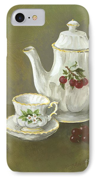 IPhone Case featuring the painting Tea With Cherries  by Nancy Patterson