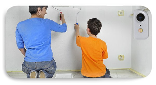 Teamwork - Mother And Child Painting Wall IPhone Case