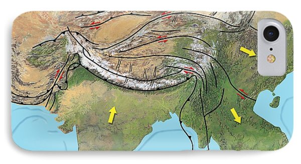 Tectonic Map Of Asia Phone Case by Gary Hincks