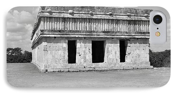 Temple Of The Turtles At Uxmal Mexico Black And White IPhone Case by Shawn O'Brien