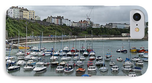 IPhone Case featuring the photograph Tenby Harbour Panorama by Steve Purnell