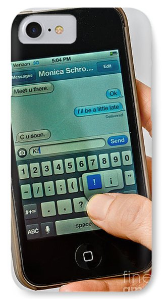 Texting On An Iphone Phone Case by Photo Researchers