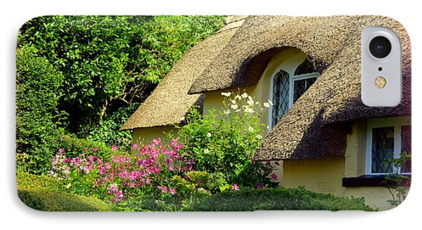 Thatched Cottage With Pink Flowers Phone Case by Carla Parris