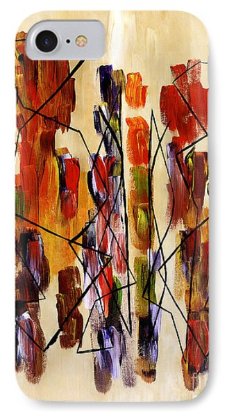 Figurative Abstract African Couple Reproduction On Gallery Wrapped Canvas  Phone Case by Marie Christine Belkadi