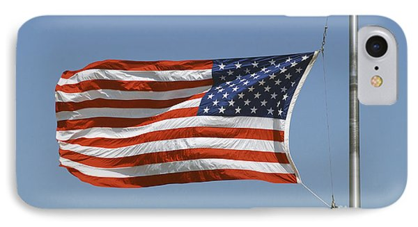 The American Flag Waves At Half-mast Phone Case by Stocktrek Images