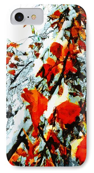 IPhone Case featuring the photograph The Autumn Leaves And Winter Snow by Steve Taylor