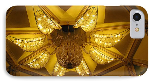 The Beautifully Lit Chandelier On The Ceiling Of The Iskcon Temple In Delhi Phone Case by Ashish Agarwal