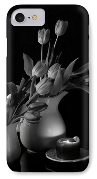 The Beauty Of Tulips In Black And White Phone Case by Sherry Hallemeier