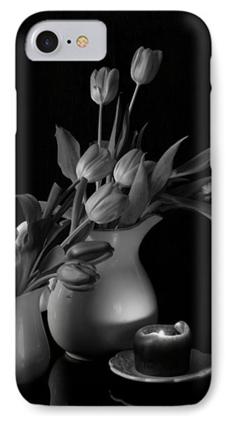 IPhone Case featuring the photograph The Beauty Of Tulips In Black And White by Sherry Hallemeier