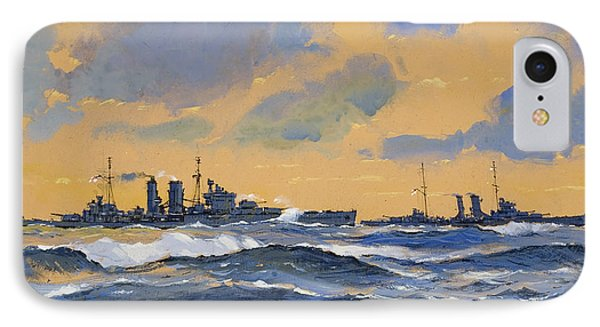 The British Cruisers Hms Exeter And Hms York  Phone Case by John S Smith