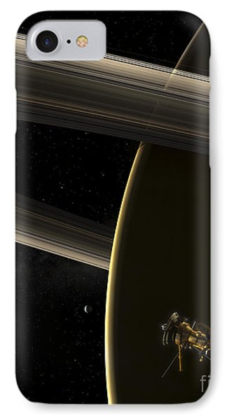 The Cassini Spacecraft In Orbit Phone Case by Steven Hobbs