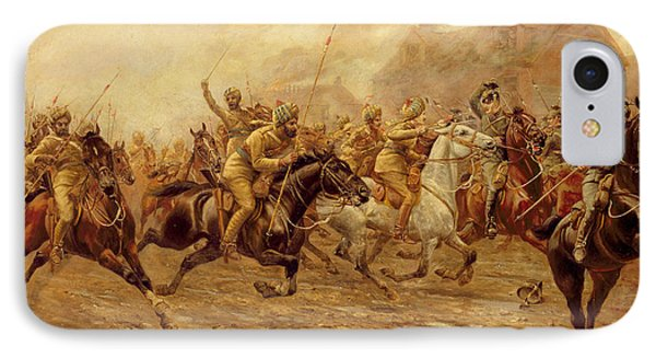 The Charge Of The Bengal Lancers At Neuve Chapelle Phone Case by Derville Rowlandson