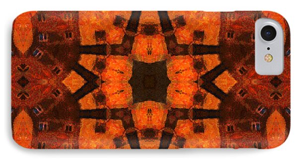 The Color Orange Mandala Abstract IPhone Case by Georgiana Romanovna