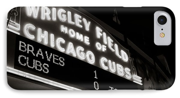 The Famous Wrigley Field Sign In Black And White IPhone Case by Anthony Doudt