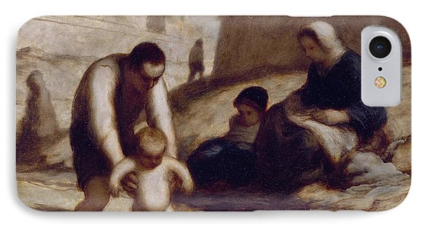 The First Bath  IPhone Case by Honore Daumier