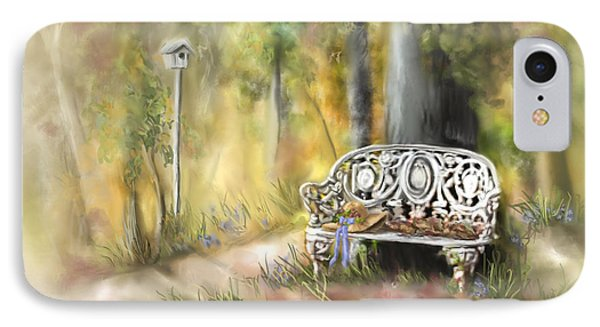 IPhone Case featuring the painting The Garden Bench by Bonnie Willis